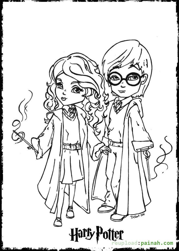 Harry Potter Coloring Pages To Print  Harry Potter Coloring Pages Printable Cartoon Cute