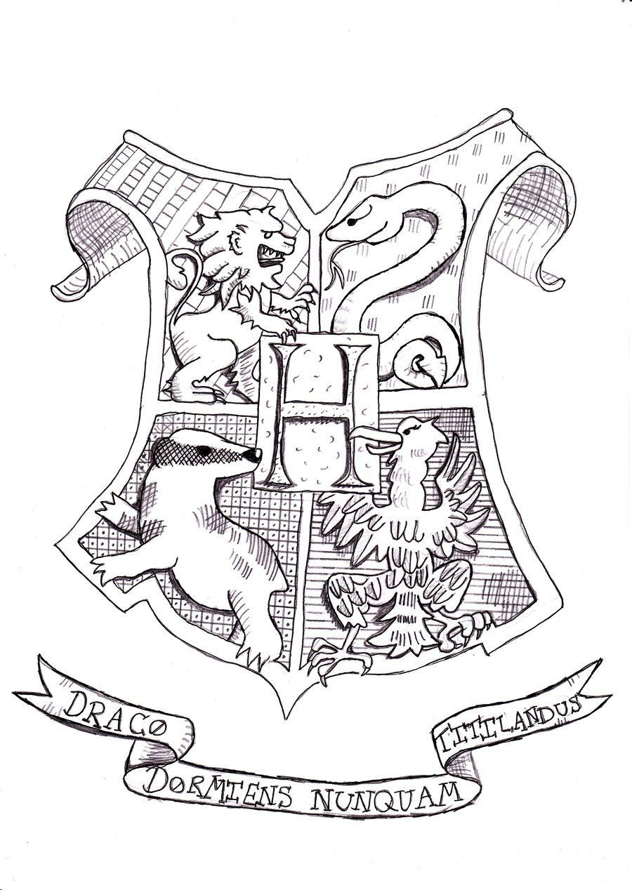 Harry Potter Coloring Pages To Print  Harry Potter Coloring Pages Hogwarts Crest Coloring Home