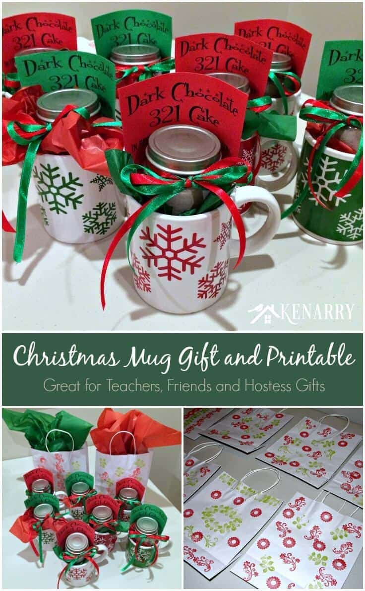 Holiday Party Gift Ideas  Christmas Mug Teacher Gift with Free Printable
