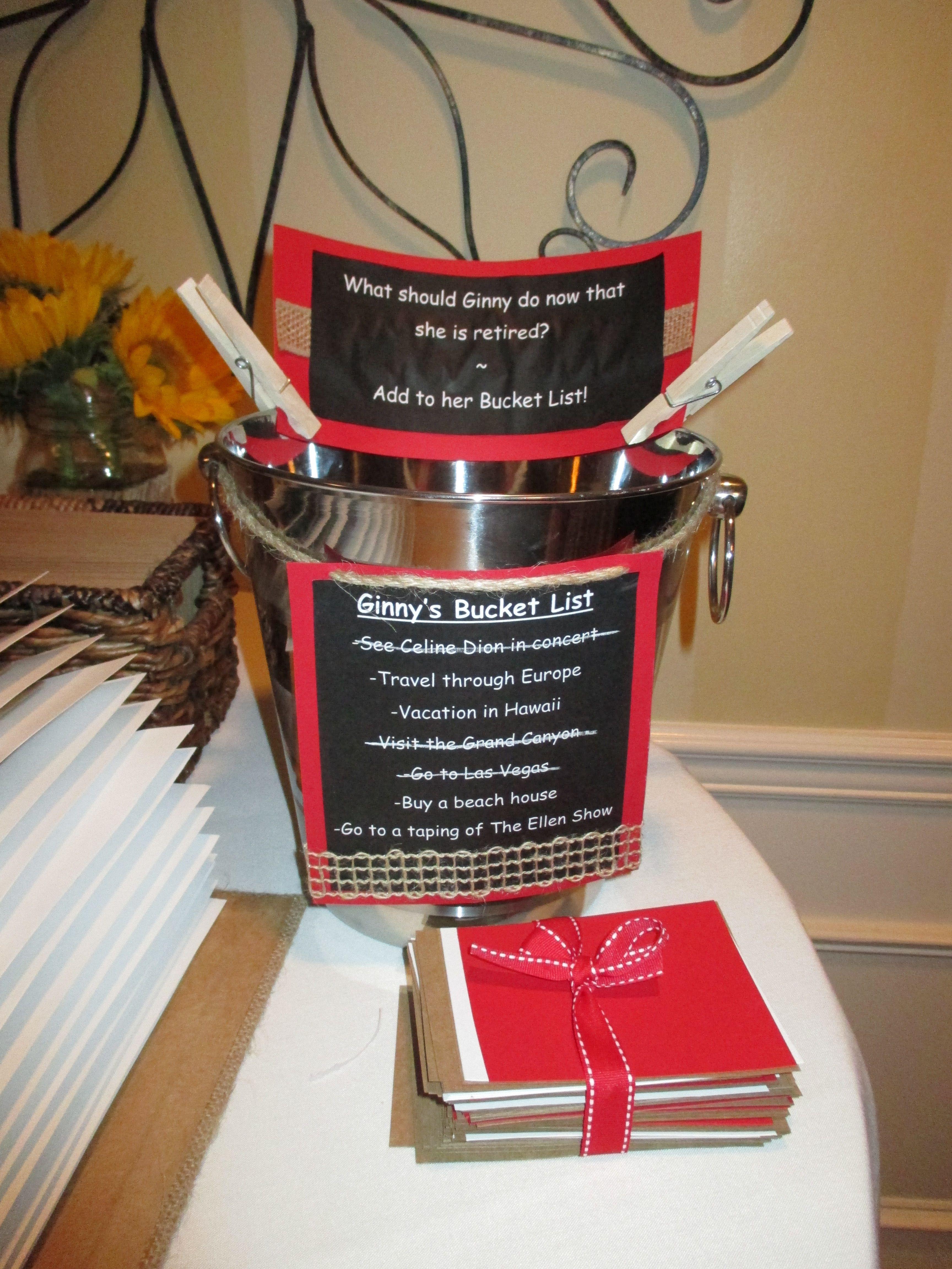 Ideas For Retirement Party  Retirement party bucket list Teacher Retirement Bucket