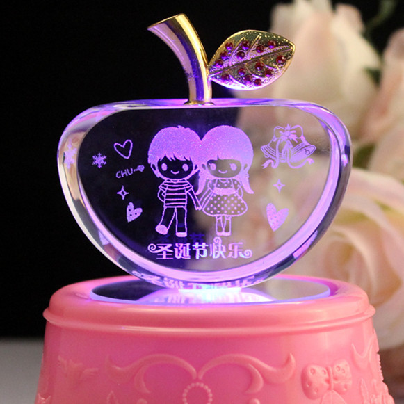Ideas Gift For Girlfriend  Crystal Apple Decoration Christmas Eve wedding t to