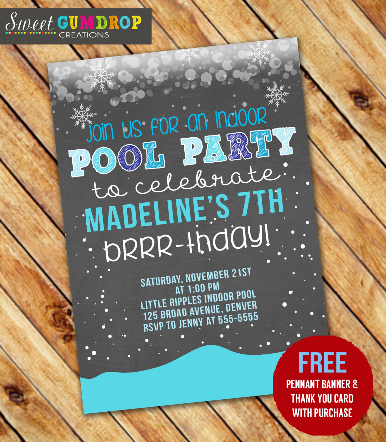 Indoor Pool Party Ideas  Winter Indoor Pool Party Birthday Invitation Printable