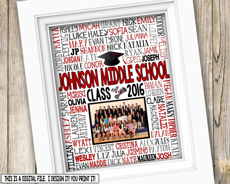 Jr High Graduation Gift Ideas  8th Grade Graduation Gift Class Picture Printable