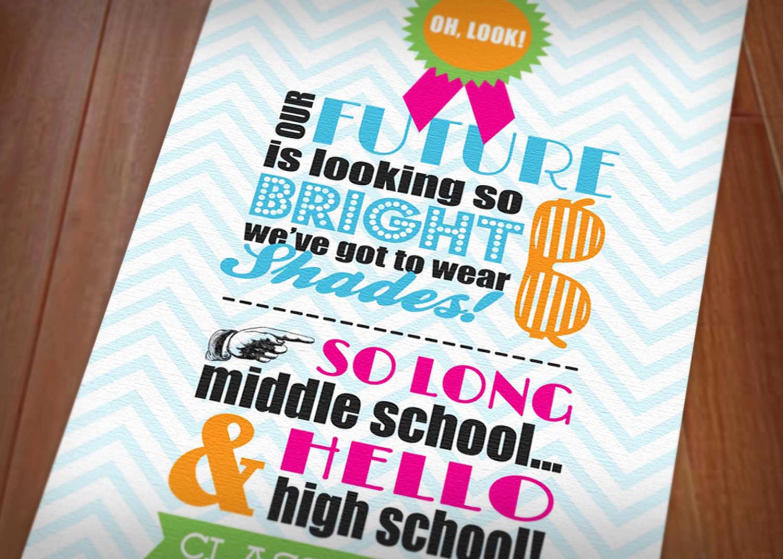 Jr High Graduation Gift Ideas  80 s BRIGHT SHADES Graduation Party Printable Invitation
