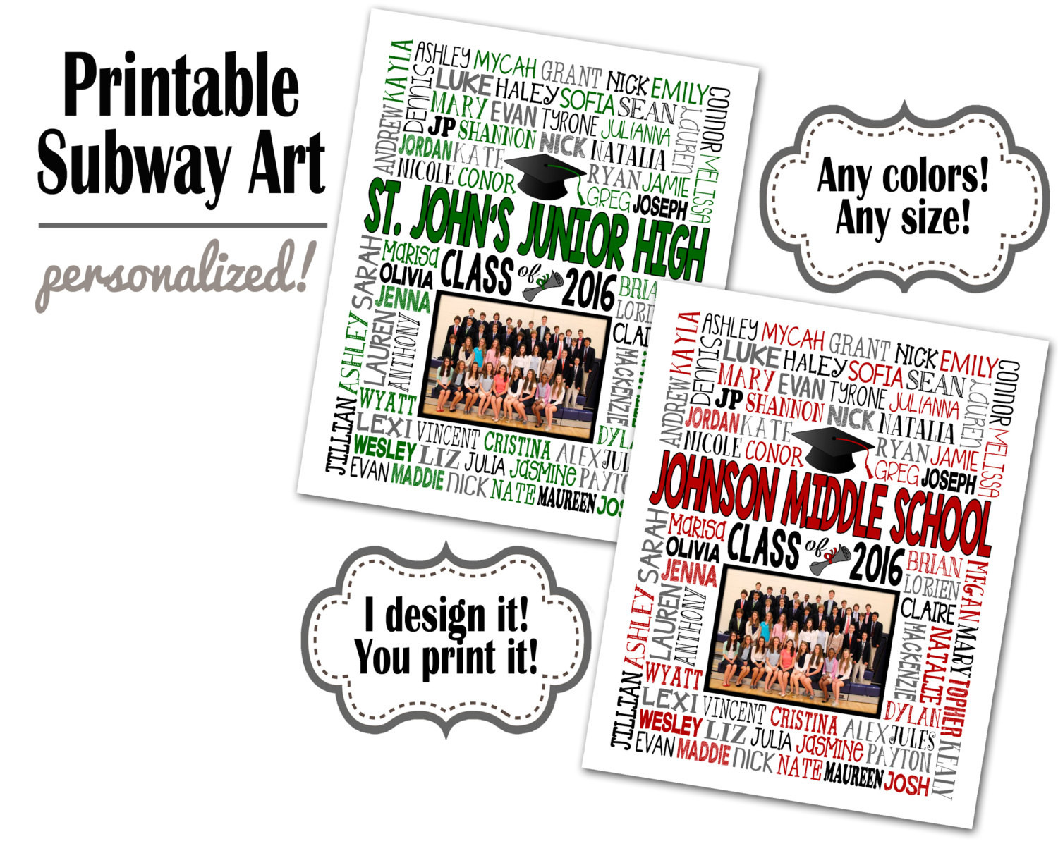 Jr High Graduation Gift Ideas  Middle School Graduation Gift Class Picture by SubwayStyle