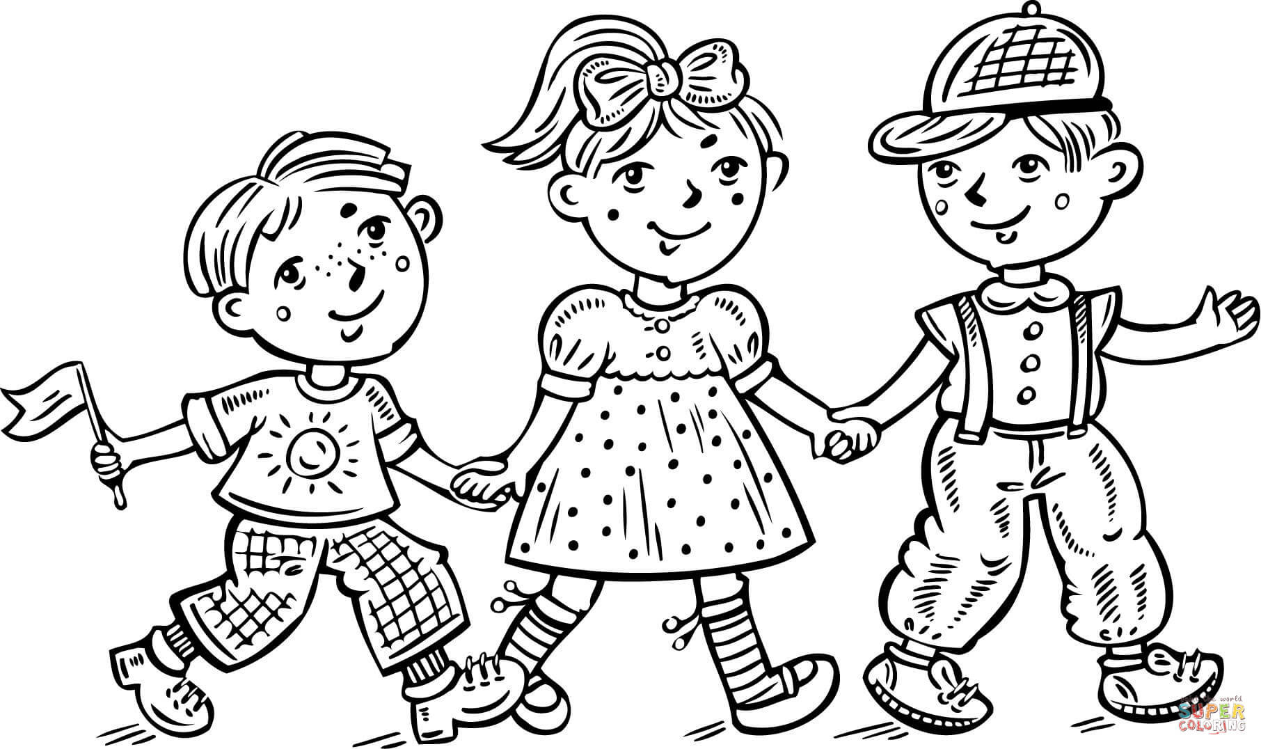 Kids Coloring Pages Performing Arts Boys  Children Boys and a Girl Celebrating coloring page