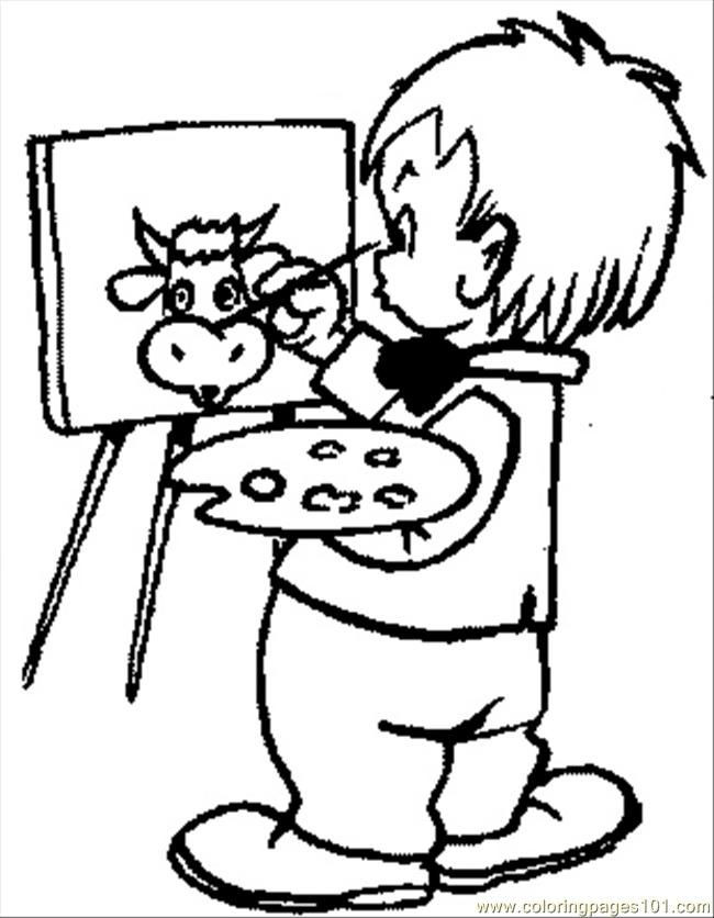 Kids Coloring Pages Performing Arts Boys  Kids Painting line Coloring Home