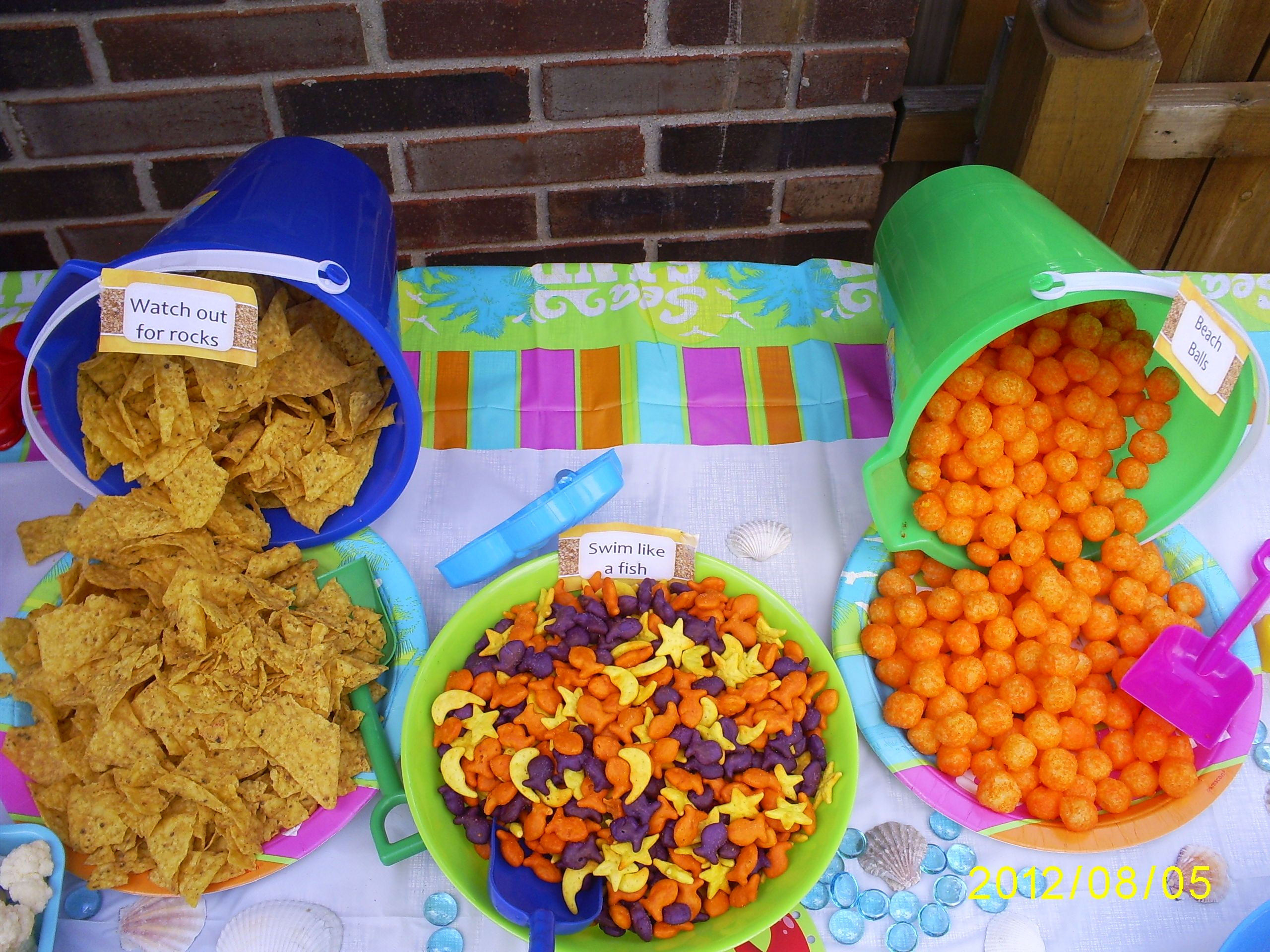 Kids Pool Party Food Ideas  pool party food= Doritos gold fish cheese puffs