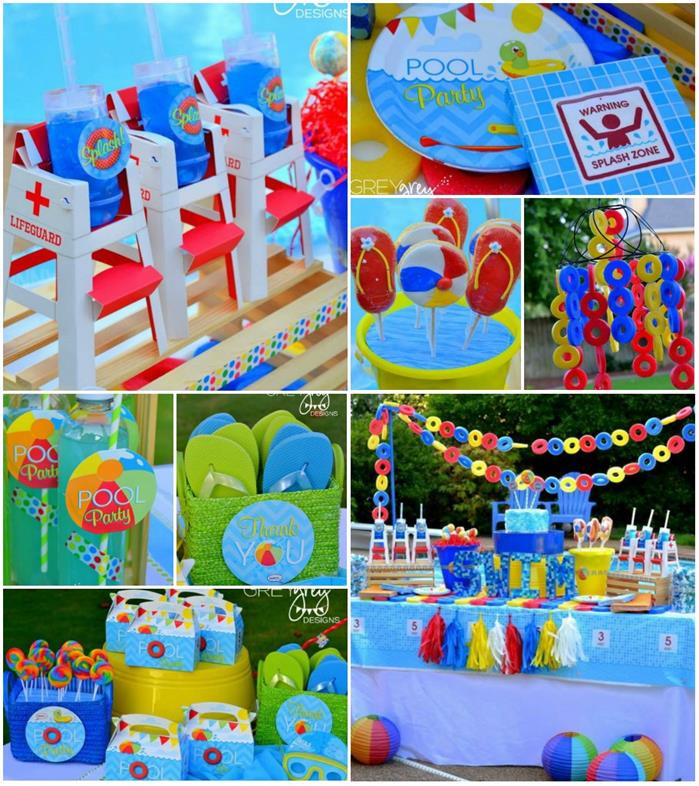 Kids Summer Pool Party Ideas  Kara s Party Ideas Summer Pool Party Ideas Planning Cake