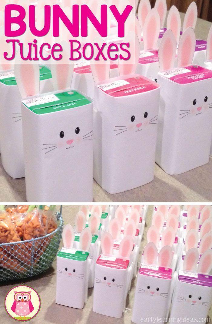 Kindergarten Easter Party Ideas  Bunny Juice Box Wrap [Free Printable]