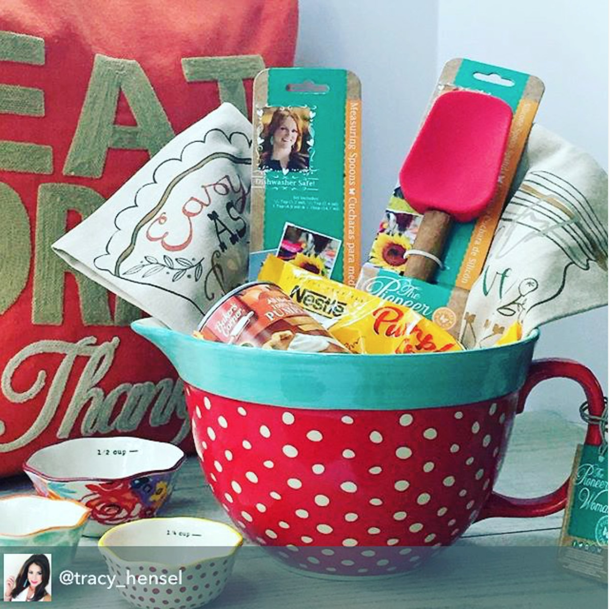 Ladies Gift Basket Ideas  Great t idea featuring the new Pioneer Woman mixing