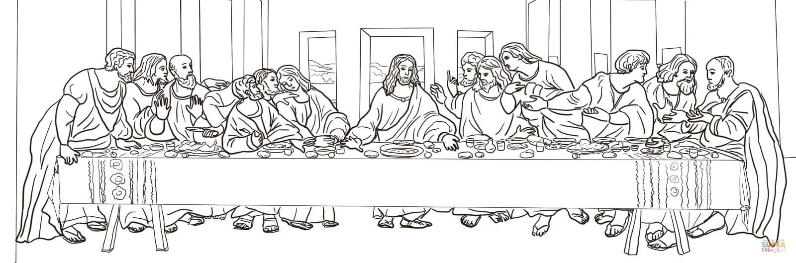 Last Supper Coloring Pages Printable  The Last Supper by Leonardo da Vinci coloring page