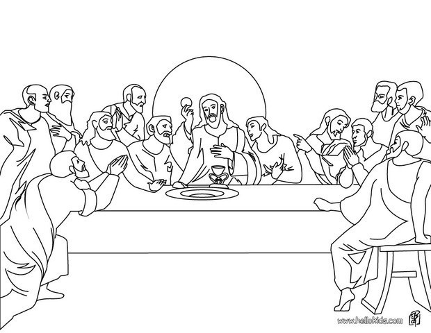 Last Supper Coloring Pages Printable  The last supper coloring pages Hellokids