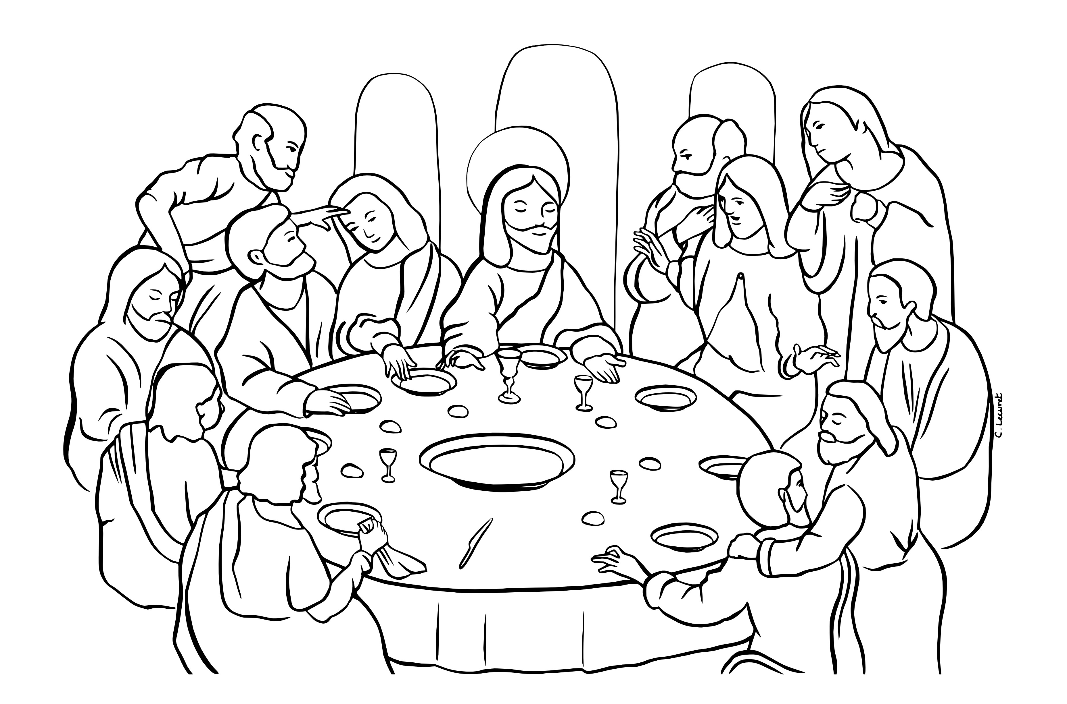 Last Supper Coloring Pages Printable  Coloring The Last Supper