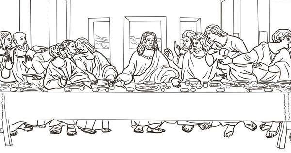 Last Supper Coloring Pages Printable  The Last Supper by Leonardo da Vinci