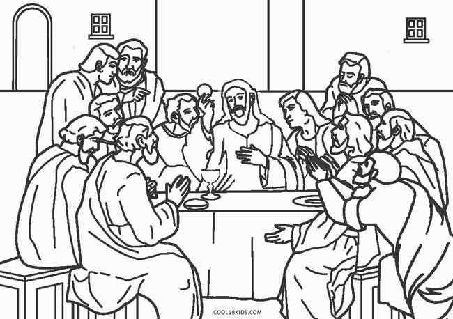 Last Supper Coloring Pages Printable  Free Printable Jesus Coloring Pages For Kids