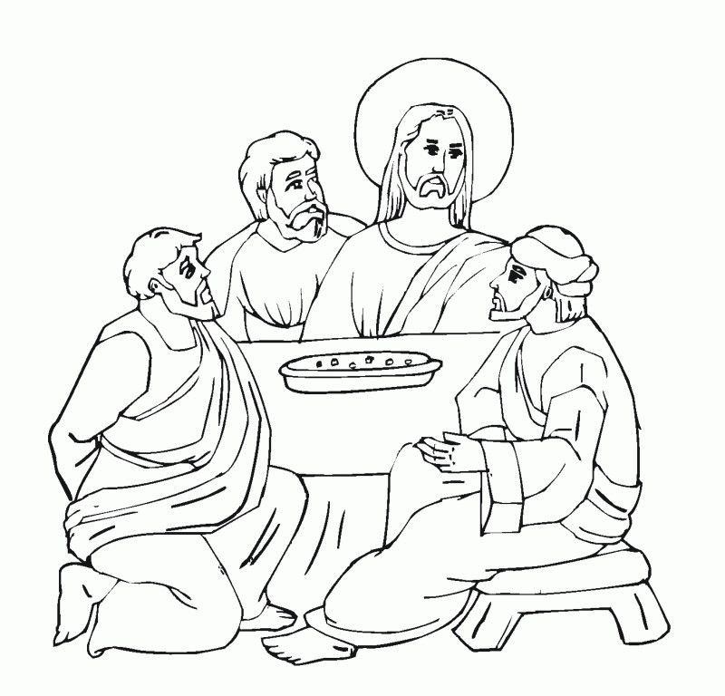 Last Supper Coloring Pages Printable  Last Supper Coloring Page Coloring Home