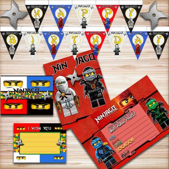 Lego Birthday Party Kit  Lego Ninjago Birthday Party Kit Ninjago Banner Ninjago