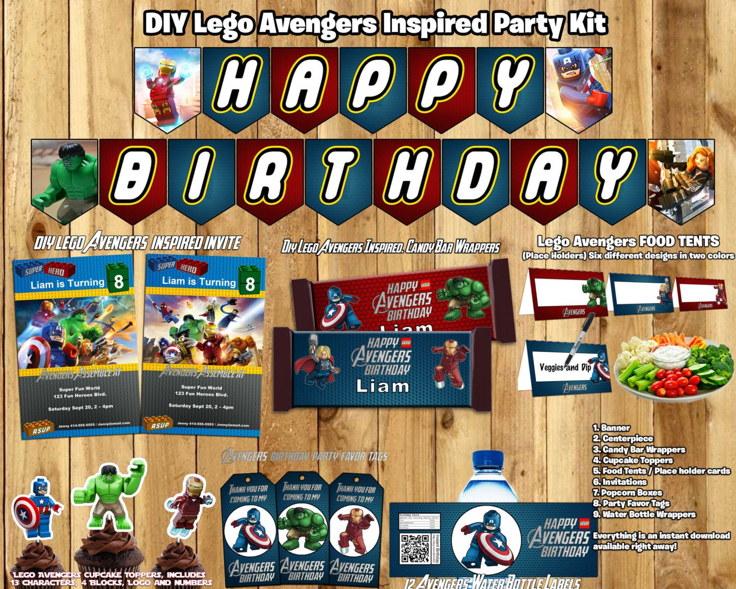 Lego Birthday Party Kit  Lego Avengers Birthday Party Kit Download Banner by