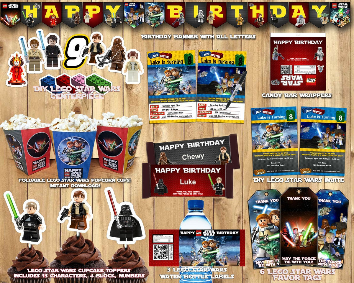 Lego Birthday Party Kit  Lego Star Wars Birthday Party Kit Download Banner by