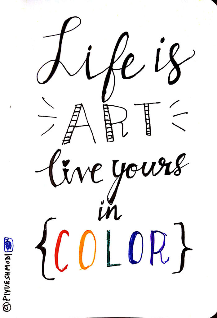 Life Is Art Quote  Doodles Sketchnotes and Handlettering by Piyuesh Modi