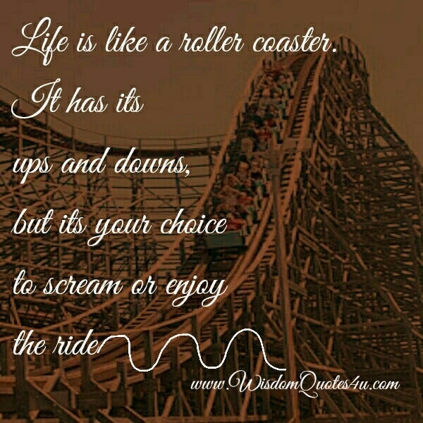Life Is Like A Rollercoaster Quote  Life is like a roller coaster Wisdom Quotes