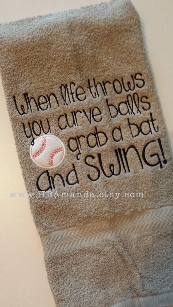 Life Throw You Curveballs Quotes  Baseball Quote Towel When Life throws you curve balls by