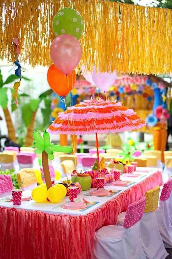 Luau Pool Party Ideas  Kara s Party Ideas Aloha Luau Surf Colorful Hawaiian Beach