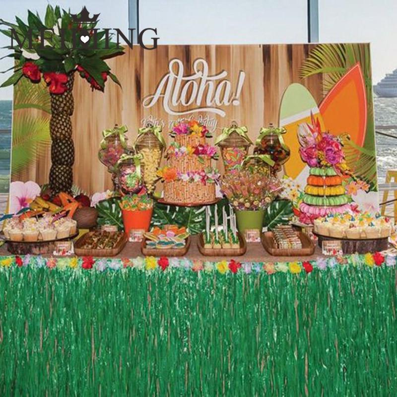 Luau Pool Party Ideas  Aliexpress Buy MEIDDING Hawaiian Luau Grass Table