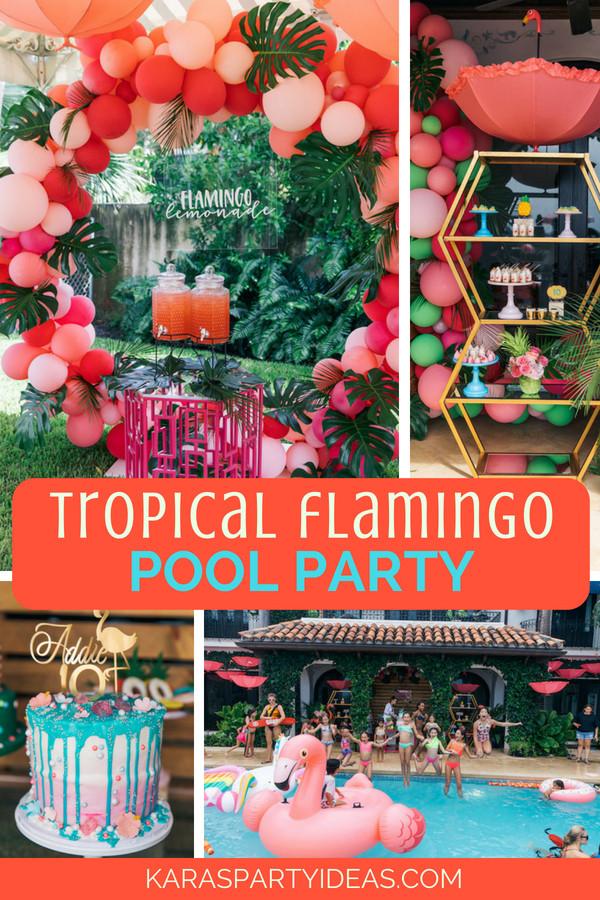 Luau Pool Party Ideas  Kara s Party Ideas Tropical Flamingo Pool Party