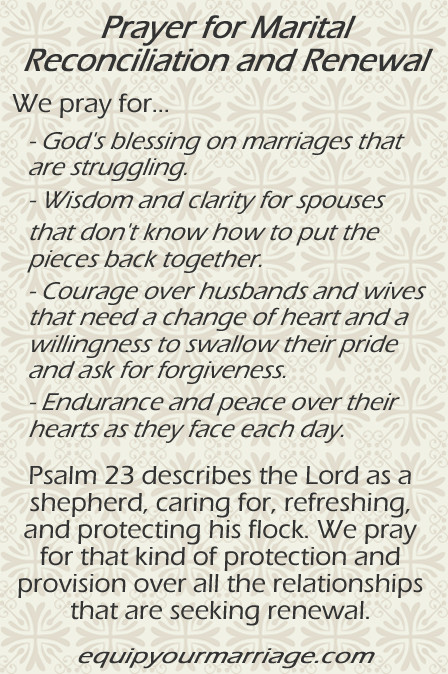 Marriage Prayer Quotes  Marriage Prayer for Renewal and Reconciliation Psalm 23