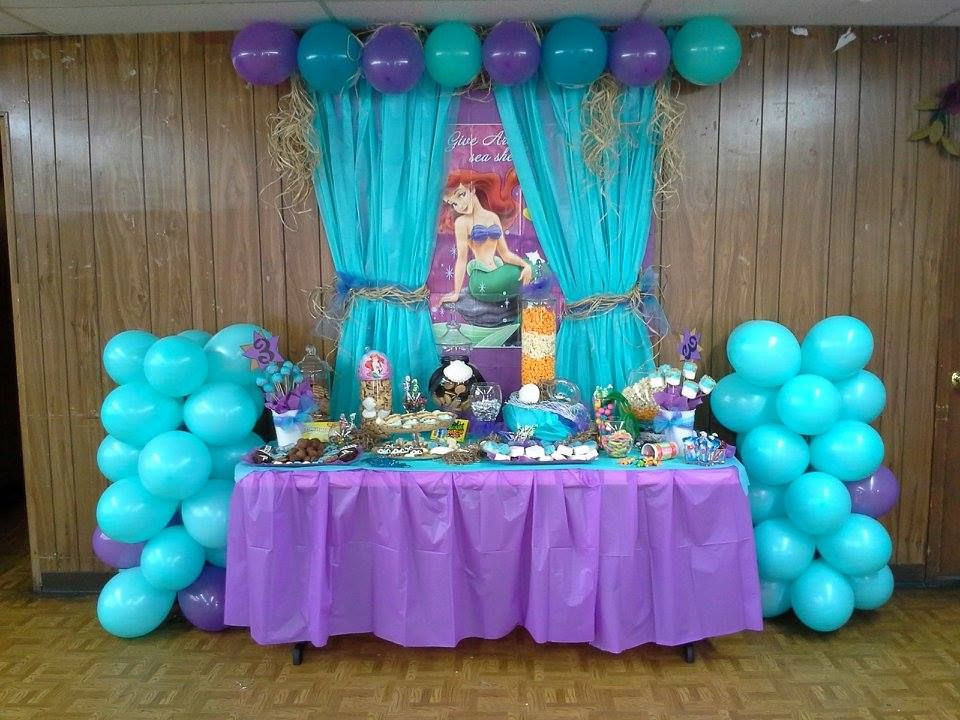 Mermaid Birthday Party Decoration Ideas  The Little Mermaid Birthday Party Dessert Buffet Also