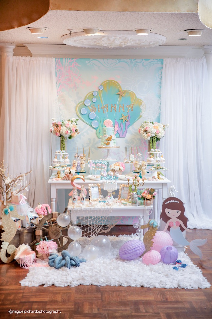 Mermaid Birthday Party Decoration Ideas  Kara s Party Ideas Pastel Mermaid Birthday Party
