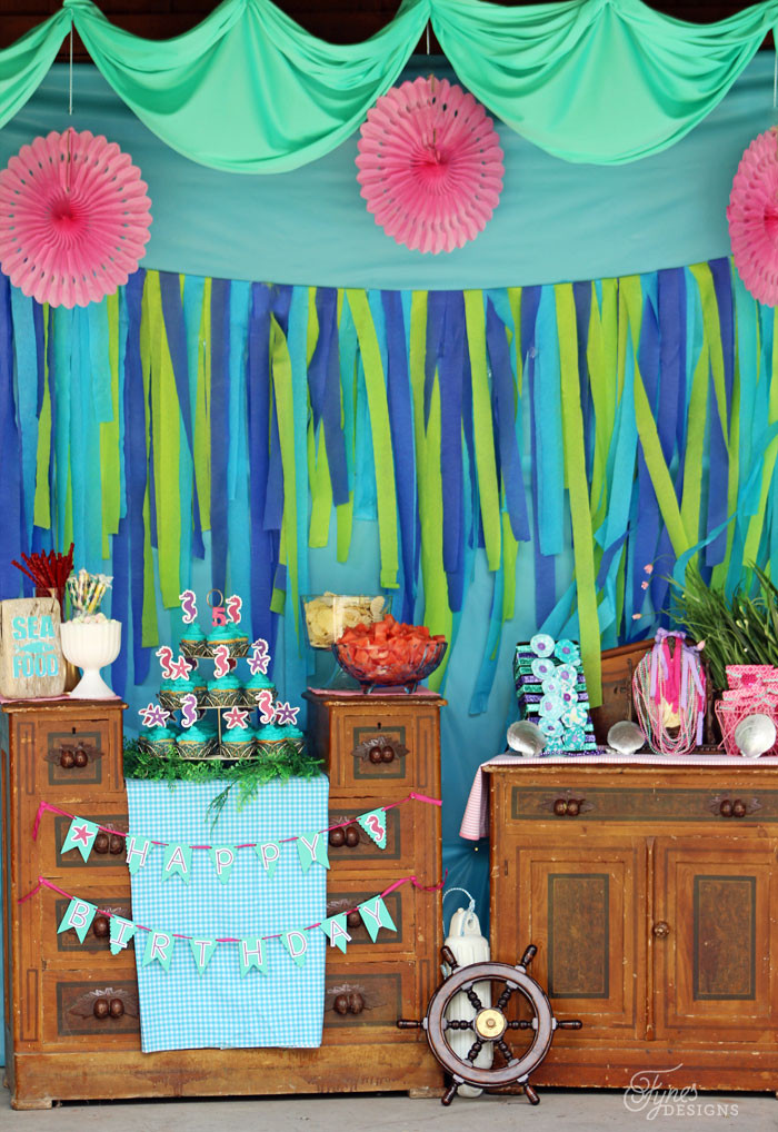 Mermaid Birthday Party Decoration Ideas  Swim Over to Our Mermaid Party FYNES DESIGNS