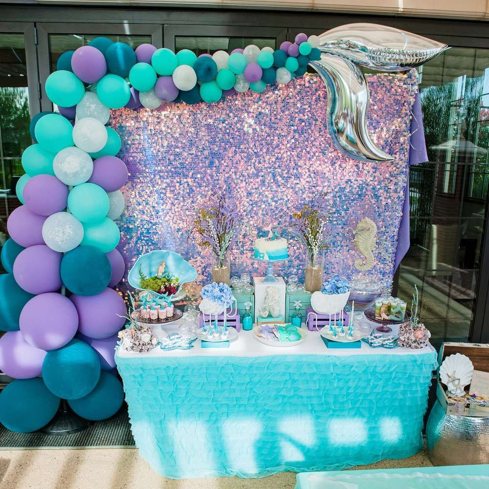 Mermaid Party Decor Ideas  This Mermaid Birthday Party is stunning Love the dessert