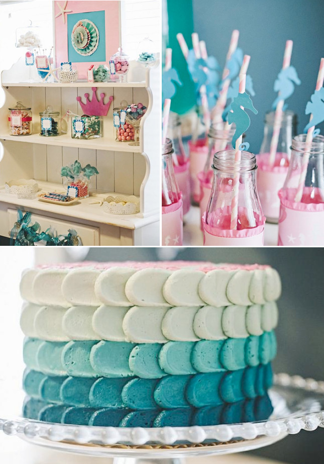 Mermaid Party Decor Ideas  Kara s Party Ideas Under the Sea Mermaid Ocean Girl Party