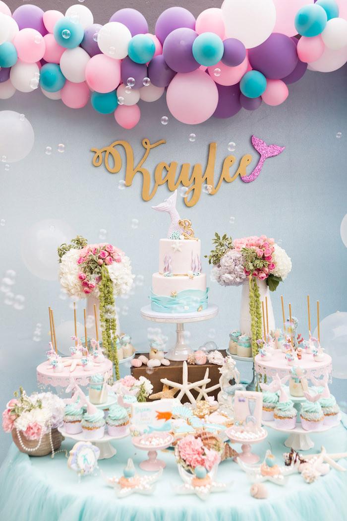 Mermaid Party Decor Ideas  Kara s Party Ideas Pastel Mermaid Birthday Party
