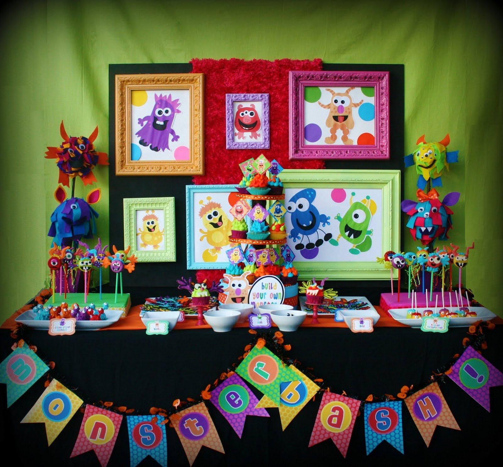 Monster Birthday Decorations  Kara s Party Ideas Colorful Monster Bash Party
