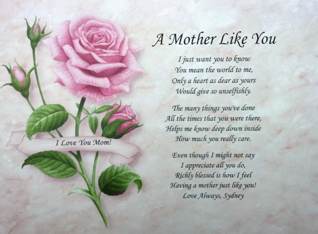 Mother'S Day Blessing Quotes  A MOTHER LIKE YOU PERSONALIZED POEM FOR MOM BIRTHDAY