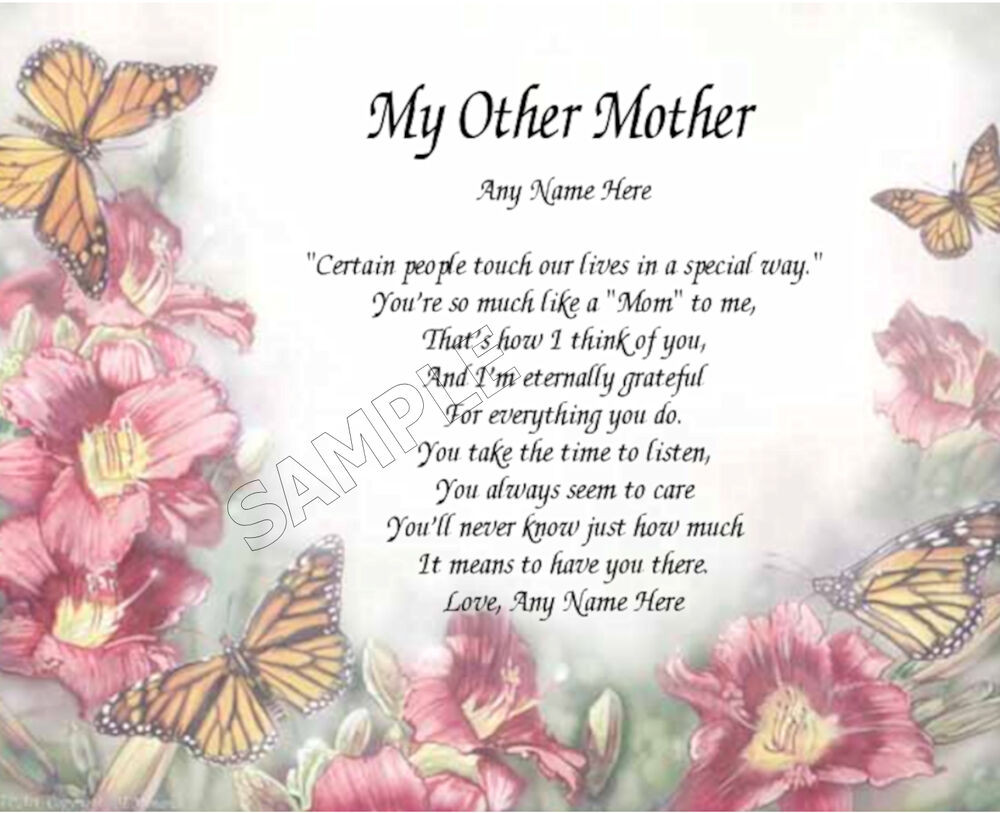 Mother'S Day Blessing Quotes  MY OTHER MOTHER PERSONALIZED ART POEM MEMORY BIRTHDAY