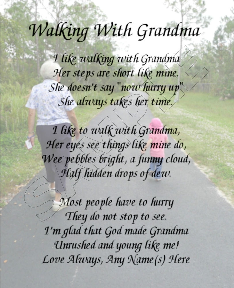 Mother'S Day Blessing Quotes  WALKING WITH GRANDMA PERSONALIZED PRINT POEM MEMORY