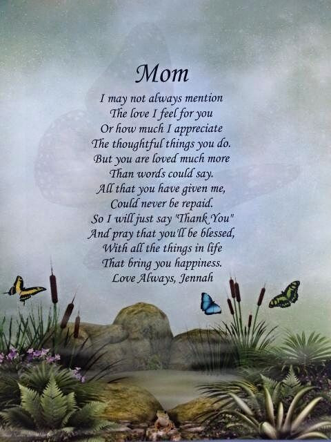Mother'S Day Blessing Quotes  PERSONALIZED MOM POEM INEXPENSIVE GIFT FOR MOTHER S DAY