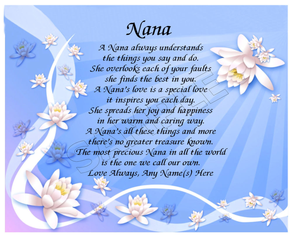 Mother'S Day Blessing Quotes  NANA PERSONALIZED PRINT POEM MEMORY BIRTHDAY MOTHER S DAY