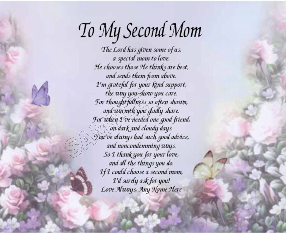 Mother'S Day Blessing Quotes  TO MY SECOND MOM PERSONALIZED ART POEM MEMORY BIRTHDAY