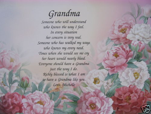 Mother'S Day Blessing Quotes  PERSONALIZED POEM FOR GRANDMA GIFTS FOR BIRTHDAY
