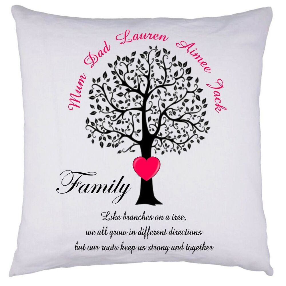 Mother'S Day Blessing Quotes  PERSONALISED Family Tree Cushion Cover Gift Valentines
