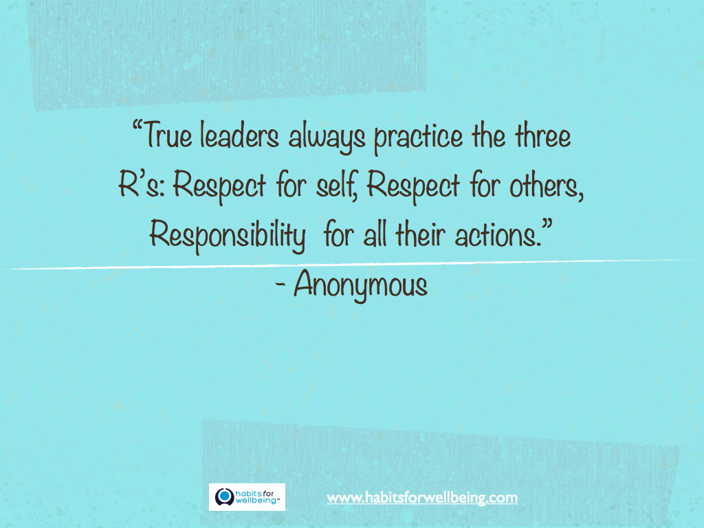 "Motivational Leadership Quotes  ""True leaders always practice the three R's Respect for"