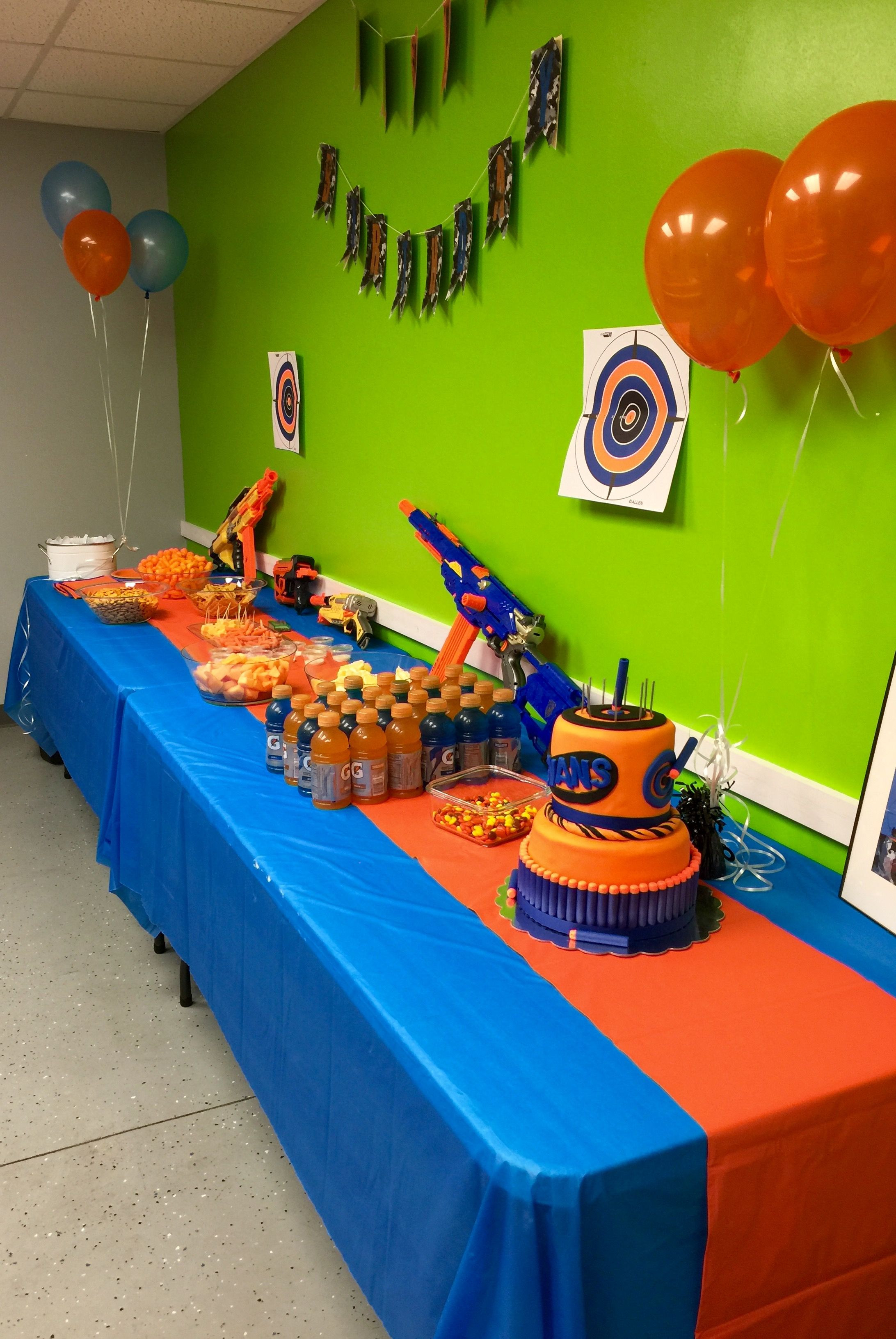 Nerf Birthday Party Decorations  Nerf Party Food and Cake Table