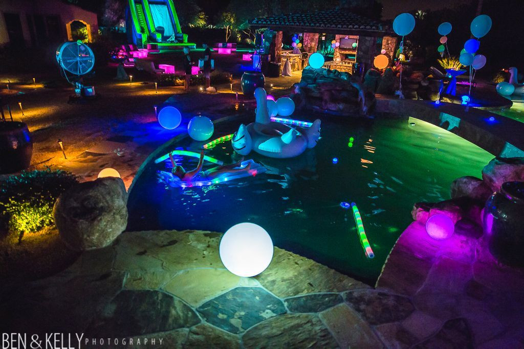Night Pool Party Ideas For Adults  glow in dark 40th birthday party ideas Google Search