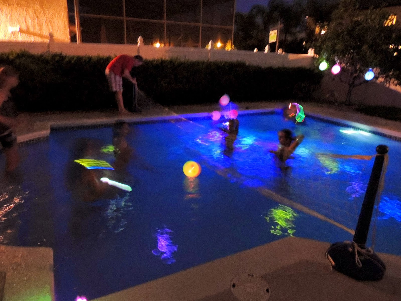 Night Pool Party Ideas For Adults  Juliana Grace Blog Space Glow in the Dark Pool Party